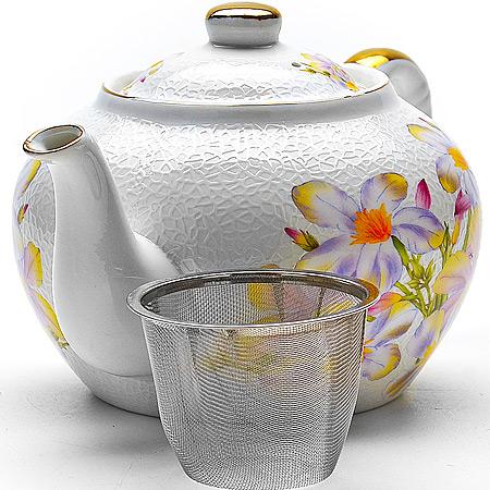 21123 Заварочный чайник 1л керам РОМАШКИ LR(х12)