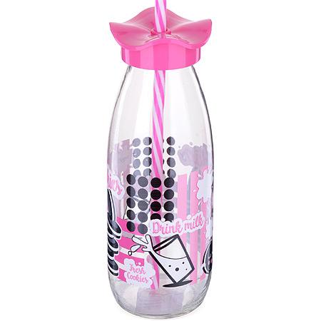 80540-2 Бутылка для смузи стекло 0,5 л РОЗОВАЯ MB (х24)