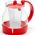 26171-1 Заварочный чайник КРАСНЫЙ стекло 1,25л ситоMB(х36)