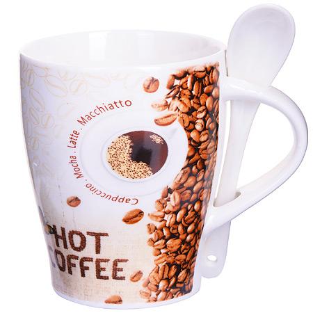 28468 Кружка COFFEE 340 мл с ложкой LR (х36)