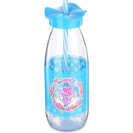 80540 Бутылка для смузи стекло 0,5 л ГОЛУБАЯ MB (х24)