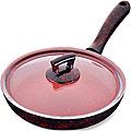 80222 Сковородка 24см алюм/мрам с крышкой Турция MB (х12)