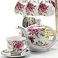 24787 Чайный набор 15пр на подставке/метал LR (х6)