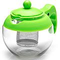 26174-3 Заварочный чайник ЗЕЛЕНЫЙ стекло 0.75л ситоMB(х48)