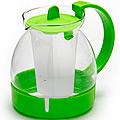 26171-3 Заварочный чайник ЗЕЛЕНЫЙ стекло 1,25л ситоMB(х36)