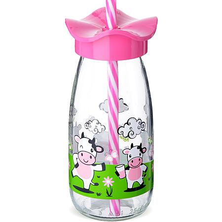 80517-1 Бутылка для смузи стекло РОЗОВЫЙ 250 мл MB (х24)