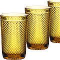 30477 Набор стаканов 370 мл 6шт ЯНТАРНЫЙ LR (х4)