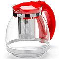 26170-1 Заварочный чайник КРАСНЫЙ стекло 1,5л сито MB(х24)