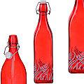 28171 Бутылка 1л стекло с крышкой КРАСНЫЙ LR (х12)