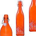28171-1 Бутылка 1л стекло с крышкой ОРАНЖЕВЫЙ LR (х12)