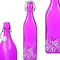 28173-2 Бутылка 500мл стекло с крышкой ФИОЛЕТОВЫЙ LR (х24)