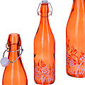 28172-1 Бутылка 1л стекло с крышкой ОРАНЖЕВЫЙ LR (х12)