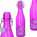 28172-2 Бутылка 1л стекло с крышкой ФИОЛЕТОВЫЙ LR (х12)