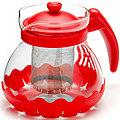 26173-1 Заварочный чайник КРАСНЫЙ стекло 0,7л сито MB(х36)