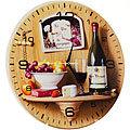 40504 Часы круглые дерево Вино, фрукты