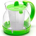 26175-3 Заварочный чайник ЗЕЛЕНЫЙ стекло 0,8л сито MB(х48)
