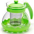 26173-3 Заварочный чайник ЗЕЛЕНЫЙ стекло 0,7л сито MB(х36)